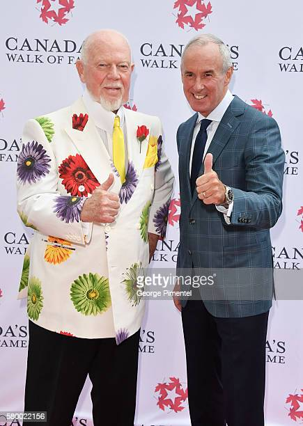 Canadian hockey commentator's Don Cherry and Ron MacLean attend the Canada's Walk Of Fame Star Unveiling at David Pecaut Square on July 25 2016 in...