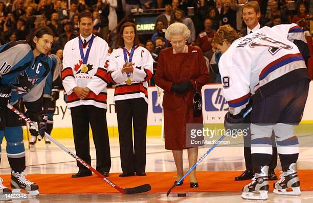 Canadian hockey great Wayne Gretzky Vancouver Canucks Ed Jovanovski and Canadian Womens Olympic winter games gold medal hockey team captain Cassie...