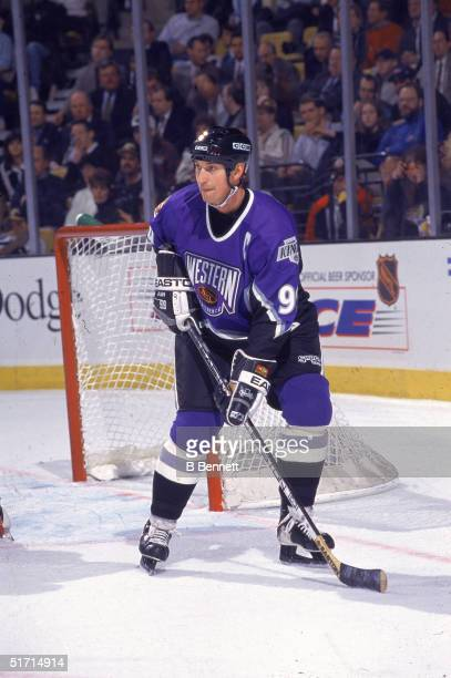Canadian hockey legend Wayne Gretzky skates on the ice during the NHL All Star Game at the Fleet Center Boston Massachusetts January 20 1996