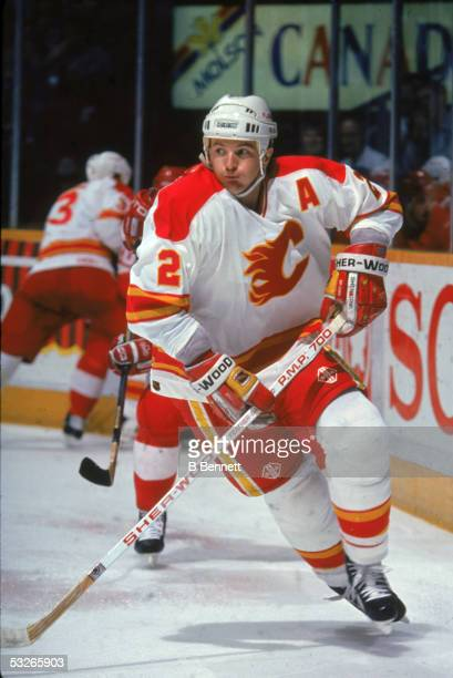 Canadian hockey player Al MacInnis of the Calgary Flames on the ice during a home game Calgary Alberta Canada early 1990s