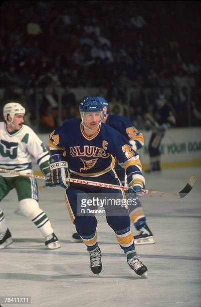 Canadian hockey player Bernie Federko of the St Louis Blues on the ice during a games against the Hartford Whalers December 1986