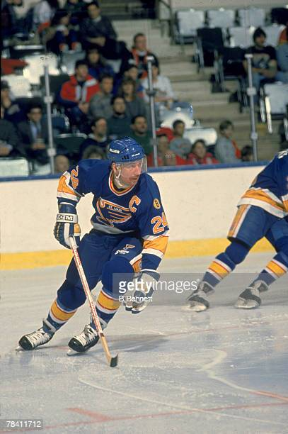 Canadian hockey player Bernie Federko of the St Louis Blues on the ice 1980s