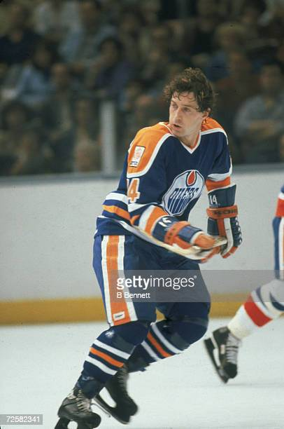 Canadian hockey player Blair MacDonald of the Edmonton Oilers on the ice during a game October 1979