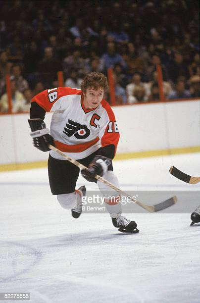 Canadian hockey player Bobby Clarke of the Philadelphia Flyers skates up the ice during a home game at the Spectum Philadelphia Pennsylvania early...