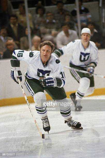 Canadian hockey player Bobby Hull of the Hartford Whalers on the ice during a game at the Hartford Civic Center Hartford Connecticut 1980s
