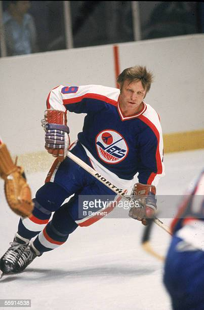 Canadian hockey player Bobby Hull of the Winnipeg Jets skates on the ice Novermber 1979