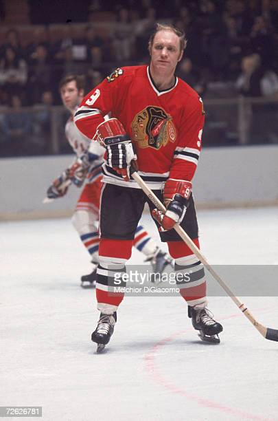 Canadian hockey player Bobby Hull on the ice during a game against the New York Rangers late 1960s or early 1970s