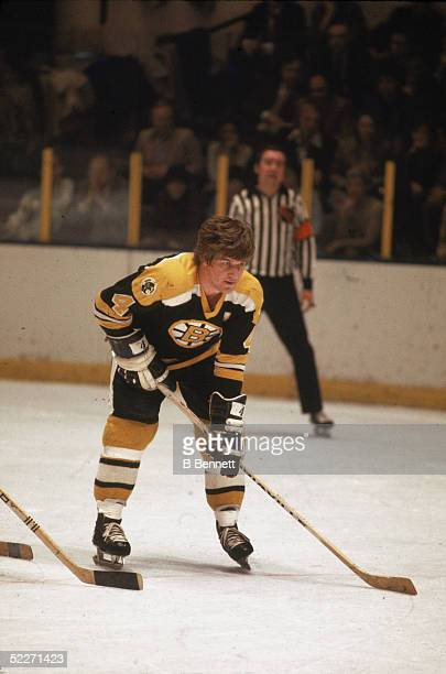 Canadian hockey player Bobby Orr, in the uniform of the Boston Briuns, waits for a face off during a road game, 1970s.