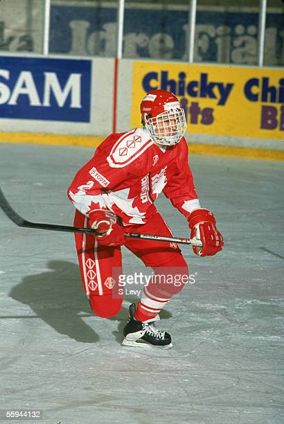 Canadian hockey player Brent Tully defenceman for the Canadian national junior team on the ice at the 1993 World Junior Championship where Team...