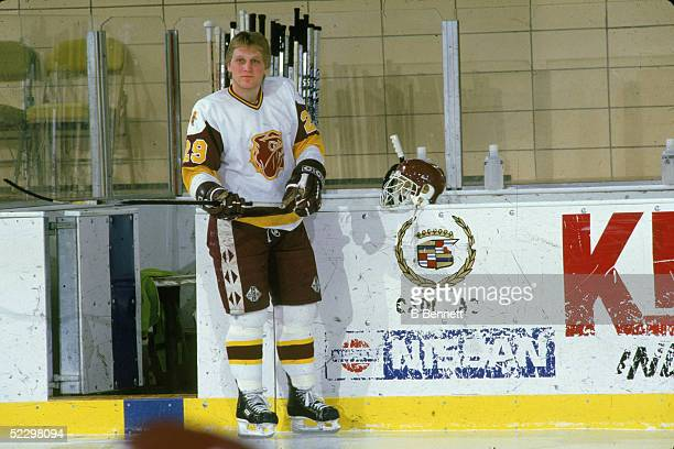 Canadian hockey player Brett Hull of the University of MinnesotaDuluth on the ice during a pregame warmup 1985