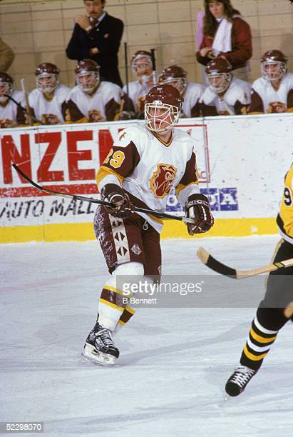 Canadian hockey player Brett Hull of the University of MinnesotaDuluth on the ice 1985
