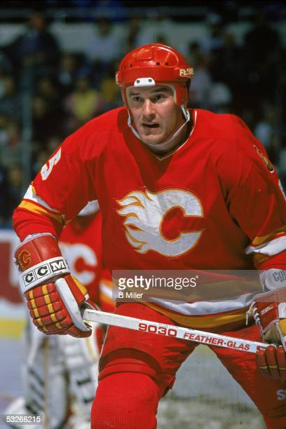 Canadian hockey player Dana Murzyn of the Calgary Flames on the ice during a game March 1990