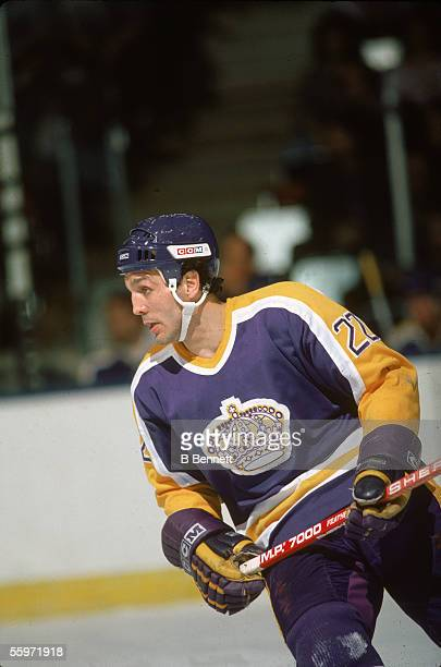 Canadian hockey player Dave 'Tiger' Williams of the Los Angeles Kings on the ice March 1985