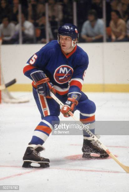 Canadian hockey player Denis Potvin of the New York Islanders in action during a road game at Madison Sqaure Garden New York New York May 1979