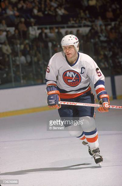 Canadian hockey player Denis Potvin of the New York Islanders on the ice November 1985