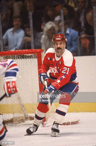 Canadian hockey player Dennis Maruk forward for the Washington Capitals skates near the net during a game against the New York Islanders at Nassau...