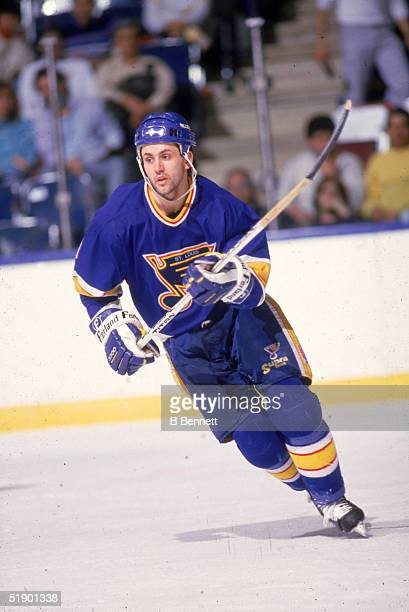 Canadian hockey player Doug Gilmour of the St Louis Blues on the ice during a game against the New York Islanders at Nassau Coliseum Uniondale New...