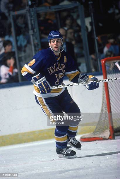 Canadian hockey player Doug Gilmour of the St Louis Blues watches the action during a game against the New York Islanders at Nassau Coliseum...