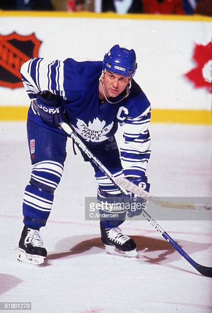 Canadian hockey player Doug Gilmour of the Toronto Maple Leafs, wearing a throwback jersey, waits for a face off during a home game at Maple Leaf...