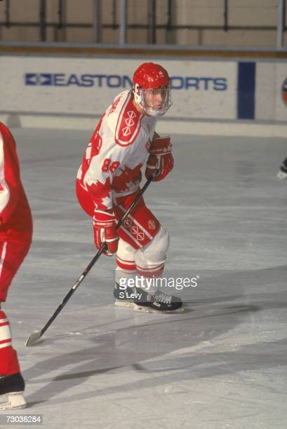 Canadian hockey player Eric Lindros of Team Canada during the World Junior Ice Hockey Championships, 1992.