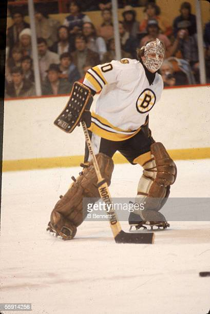 Canadian hockey player Gerry Cheevers, goalkeeper for the Boston Bruins, on the ice during a game at the Boston Garden, Boston, Massachussetts, 1970...