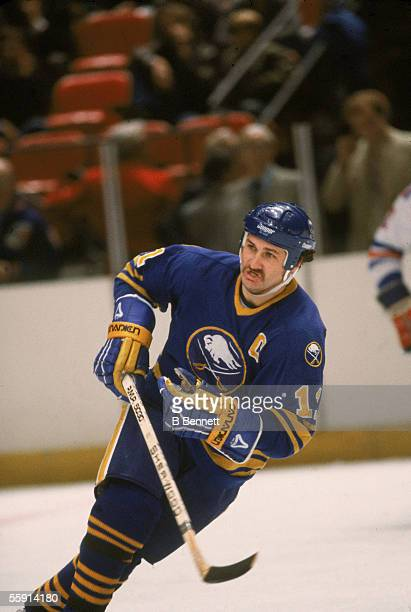 Canadian hockey player Gilbert Perreault of the Buffalo Sabres skates on the ice during a road game at Madison Square Garden New York New York...