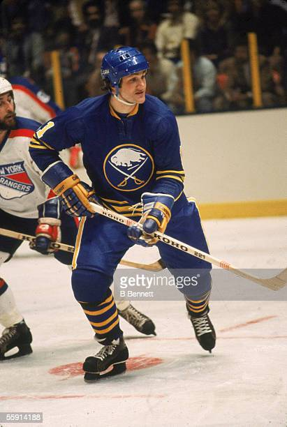 Canadian hockey player Gilbert Perreault of the Buffalo Sabres skates on the ice during a road game at Madison Square garden New York New York April...