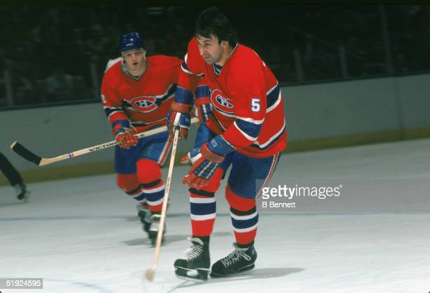 Canadian hockey player Guy Lapointe, defenseman for the Montreal Canadiens, in action against the New York Islanders at Nassau Coliseum, Uniondale,...