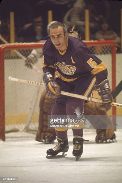 Canadian hockey player Harry Howell of the Los Angeles Kings on the ice during a game early 1970s