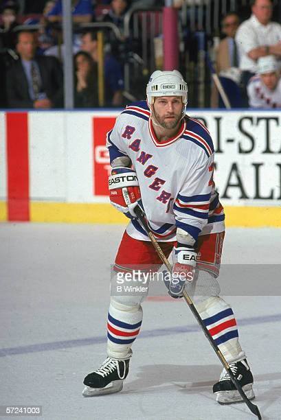 Canadian hockey player Jay Wells of the New York Rangers on the ice during a game at Madison Square Garden New York New York March 1994
