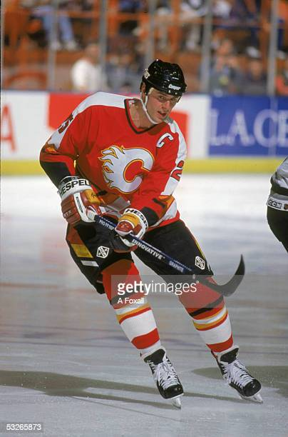 Canadian hockey player Joe Nieuwendyk of the Calgary Flames on the ice during a game 1990s