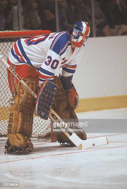 Canadian hockey player John Davidson goalkeeper for the New York Rangers on the ice during a game at Madison Square Garden New York Nwe York late...