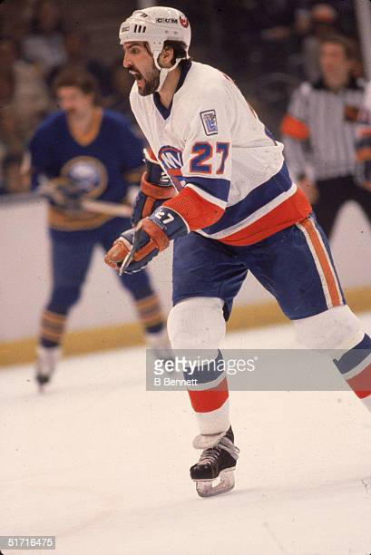 Canadian hockey player John Tonelli forward for the New York Islanders on the ice during the playoffs against the Buffalo Sabres at Nassau Coliseum...