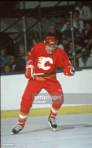 Canadian hockey player John Tonelli of the Calgary Flames growls on the ice during a game 1980s