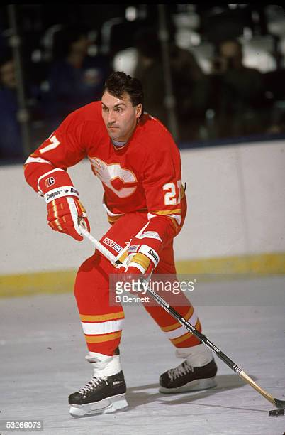 Canadian hockey player John Tonelli of the Calgary Flames on the ice during a game 1980s