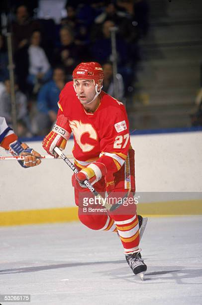 Canadian hockey player John Tonelli of the Calgary Flames on the ice during a game February 1988