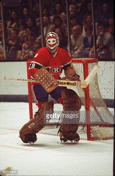 Canadian hockey player Ken Dryden goalkeeper for the Montreal Canadiens guards the net during a road games 197Os