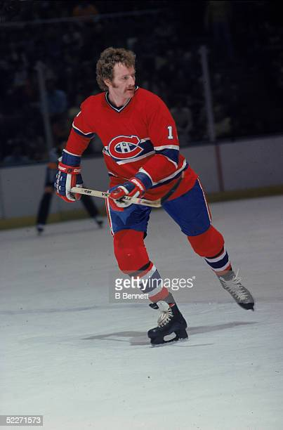 Canadian hockey player Larry Robinson in the uniform of the Montreal Canadiens skates on the ice during a road game late 1970s
