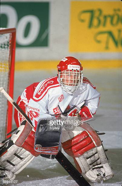 Canadian hockey player Manny Legace tends goal for the Canadian national junior team at the 1993 World Junior Championship, where Team Canada...