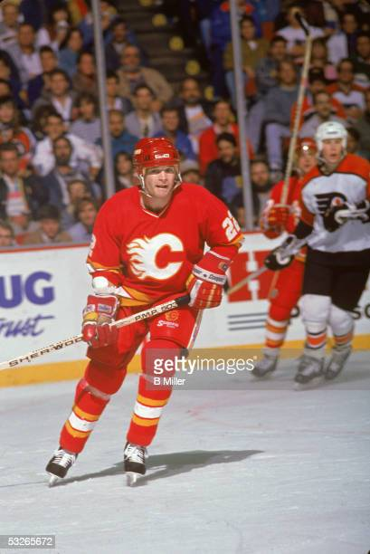Canadian hockey player Mark Hunter of the Calgary Flames on the ice during a game against the Philadelphia Flyers 1988