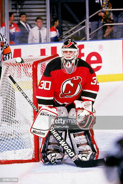 Canadian hockey player Martin Brodeur of the New Jersey Devils guards the net in the Eastern Conference finals against the New York Rangers at...