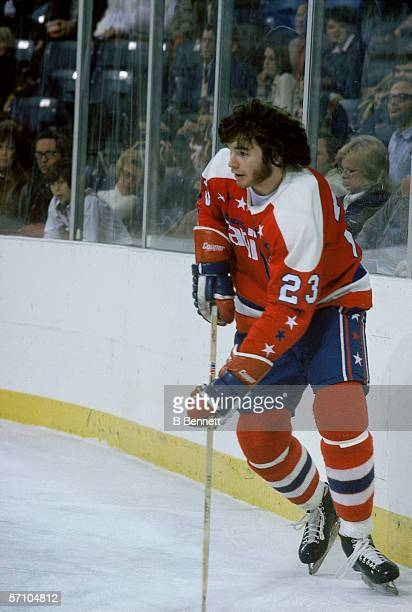 Canadian hockey player Mike Bloom of the Washington Capitals on the ice during a road game January 1975