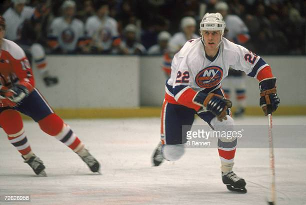 Canadian hockey player Mike Bossy of the New York Islanders on the ice February 1982