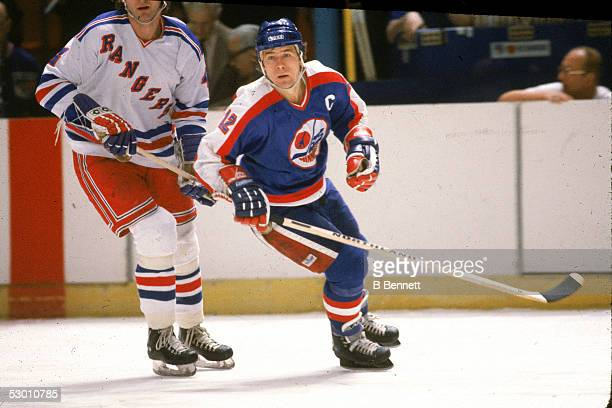 Canadian hockey player Morris Lukowich of the Winnipeg Jets on the ice during a game against the New York Rangers at Madison Square Garden New York...