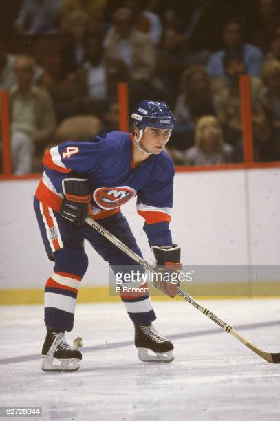 Canadian hockey player Paul Boutilier of the New York Islanders on the ice 1980s