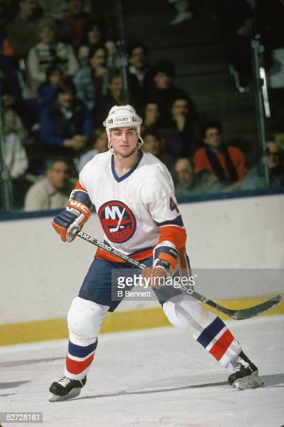 Canadian hockey player Paul Boutilier of the New York Islanders on the ice January 1985
