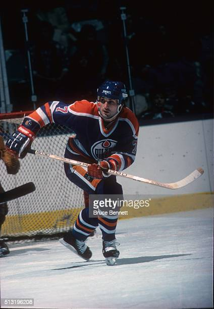 Canadian hockey player Paul Coffey of the Edmonton Oilers in action against the New York islanders at Nassau Coliseum Uniondale New York February 7...