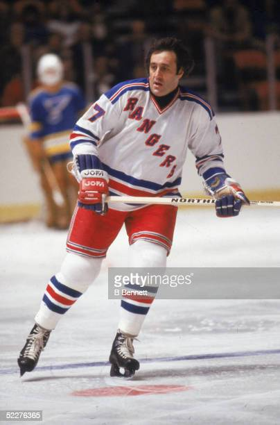 Canadian hockey player Phil Esposito of the New York Rangers on the ice during a home game against the St Louis Blues at Madison Sqaure Garden New...