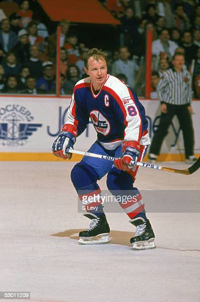 Canadian hockey player Randy Carlyle of the Winnipeg Jets on the ice during a game against the Philadelphia Flyers at the Spectrum, Philadelphia,...