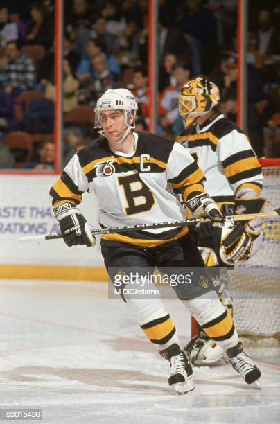 Canadian hockey player Ray Bourque defenseman for the Boston Bruins wears an Original Six throwback jersey during a road game against the...